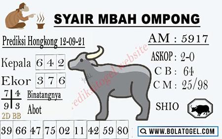 Syair Mbah Ompong HK Minggu 12-09-2021