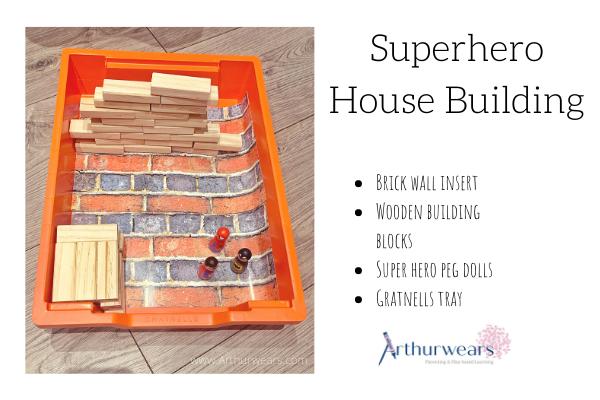 Superhero house building small tuff tray idea