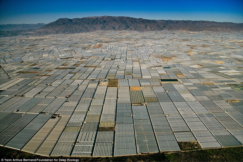 20 Pictures That Prove That Humanity Is In Danger - The area around Almeria in Spain is littered with greenhouses as far as the eye can see – simply for a richly filled dinner table