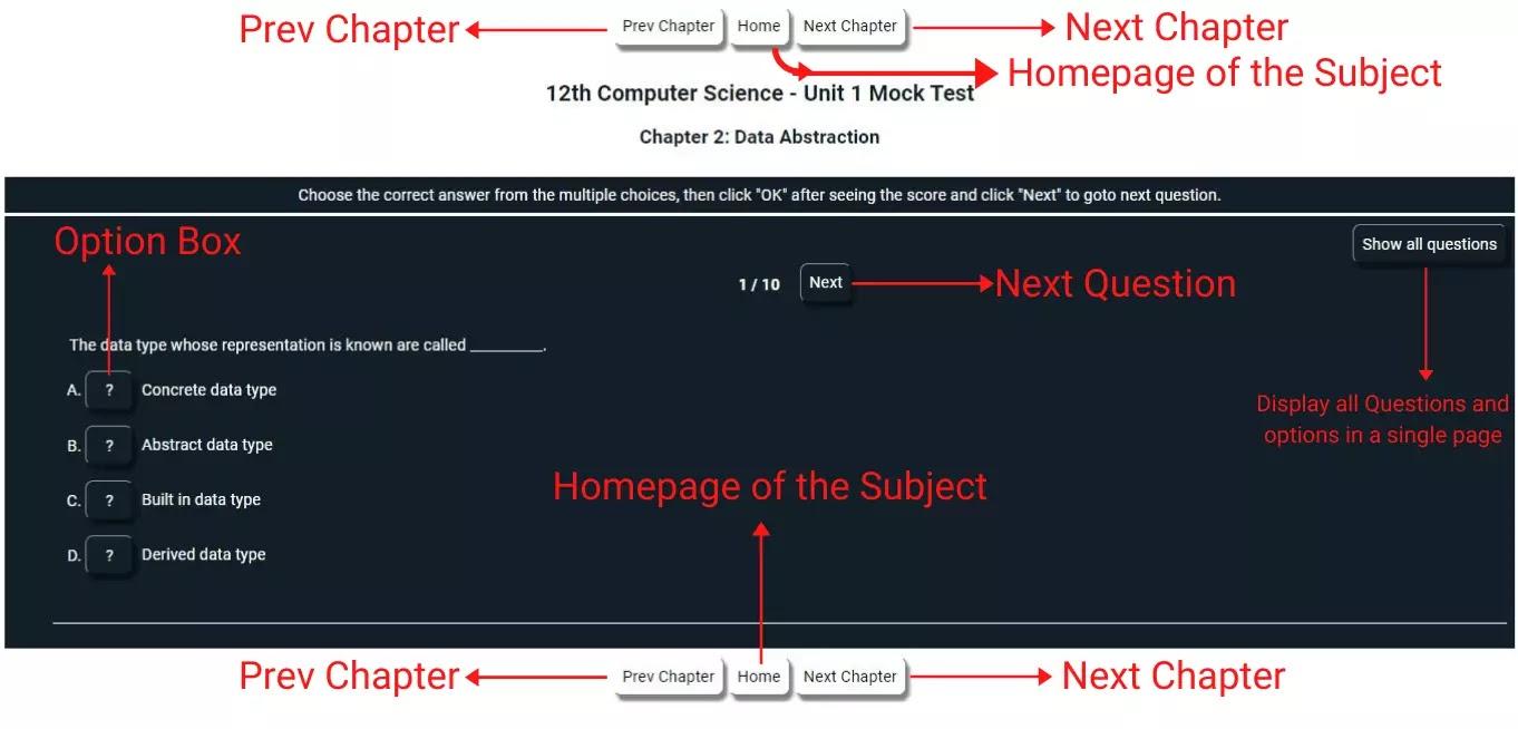 How to perform frisqoo prepare Samacheer Kalvi EM 12 Computer Science Unit5 Chapter14 MCQs Mock Test