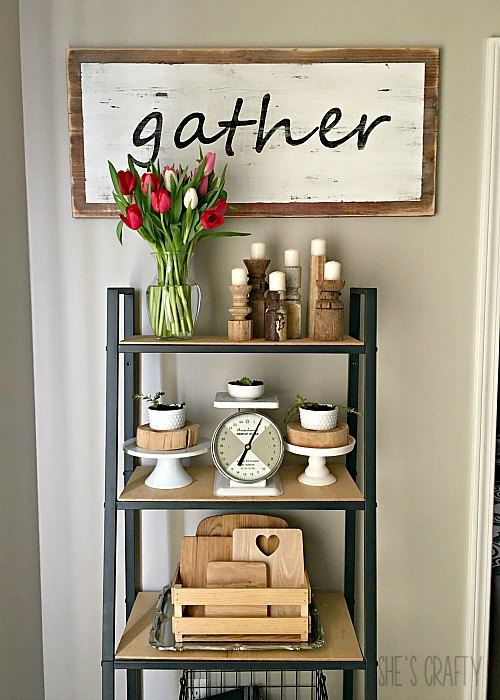 farmhouse decor, spindle candlesticks, tulips, fresh flowers