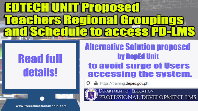 COMPLETE LIST OF REGIONAL GROUPS WHEN To Access PD LMS propose by EDTECH UNIT