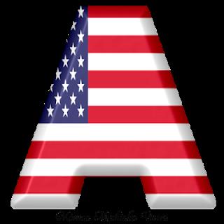 Abecedario con la Bandera de USA. USA Flag Alphabet.