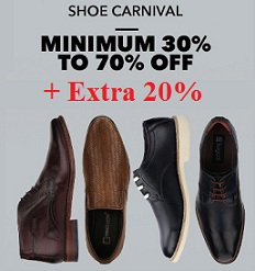 Shoe Carnival: Min 30% upto 70% Off + Extra 20% Off @ Jabong (Limited Period Offer)