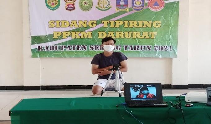 24 Orang Pelanggar Prokes PPKM Darurat di Sidang Tipiring di Aula Kecamatan Kragilan