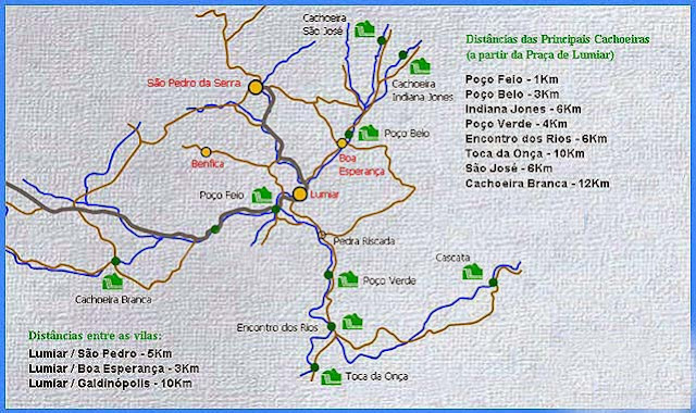 Mapa das Cachoeiras de Lumiar e São Pedro da Serra