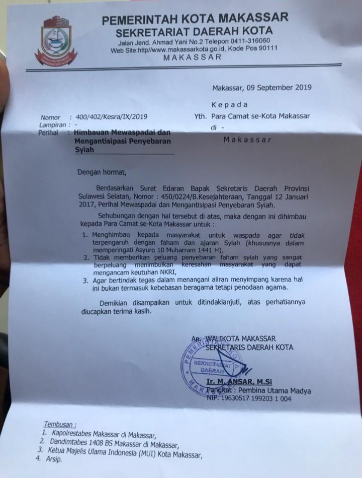 Cegah Penyebaran Syi'ah, Pemkot Makassar Keluarkan 3 Imbauan Tegas