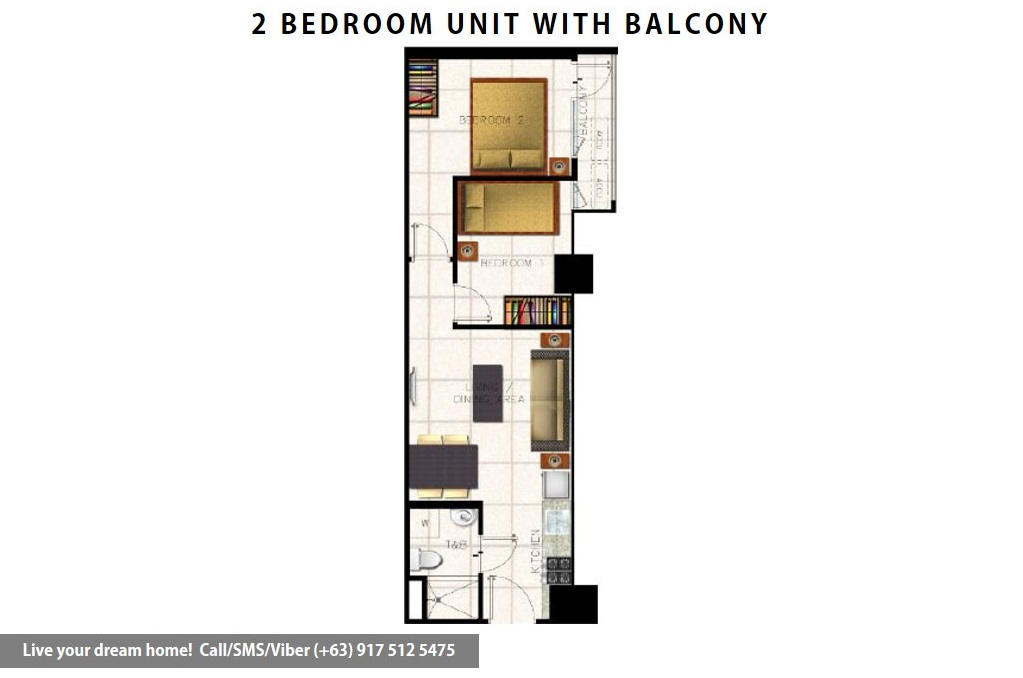 Floor Plan of SMDC S Residences - 2 Bedroom With Balcony | Condominium for Sale SM Mall of Asia Pasay