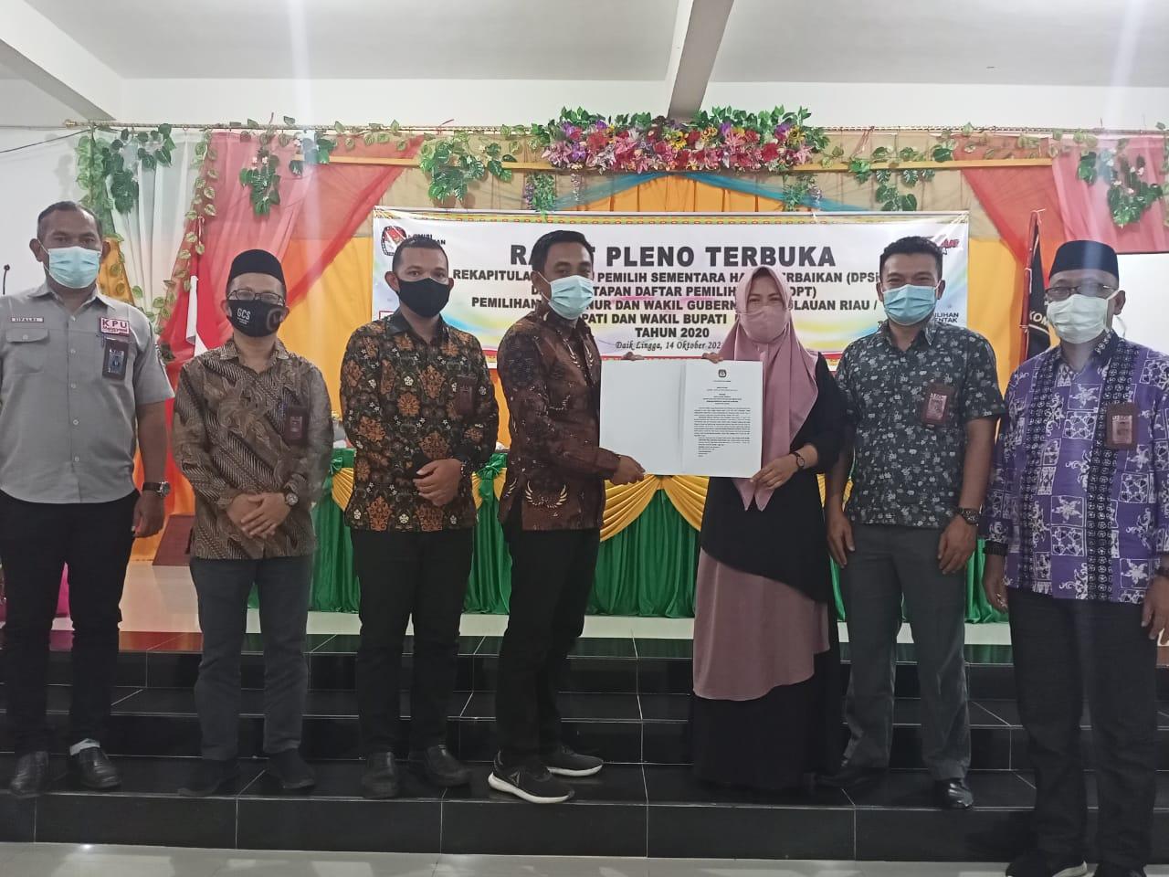 KPU Kabupaten Lingga Tetapkan DPT Sebanyak 70.545 Orang