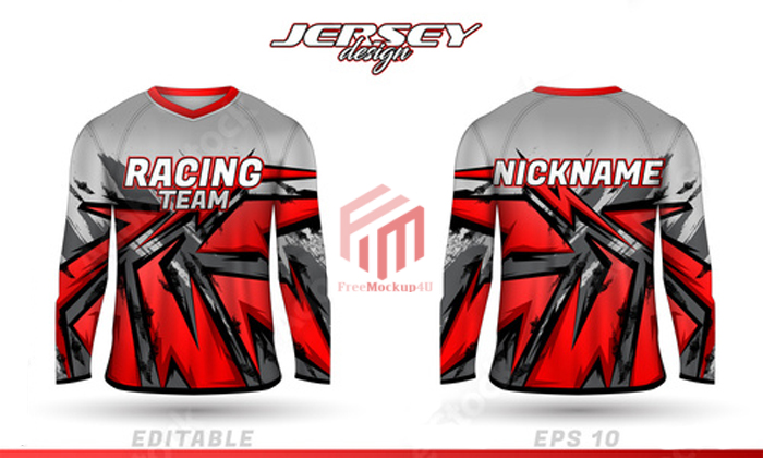 Long Sleeve Sports Racing Suit Front Back T Shirt Design
