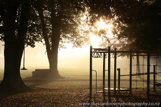 Cornwall Park in Hastings, fog, mist, playground photograph