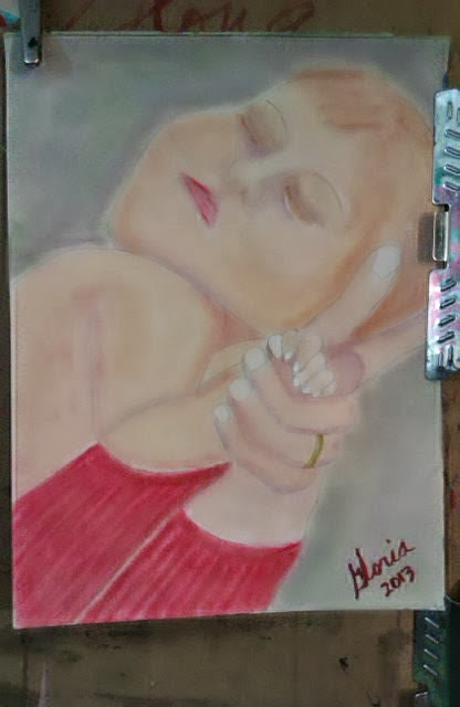 A mother holding her newborn; sketch by Gloria Poole / Gloria / gloriapoole; yr 2013