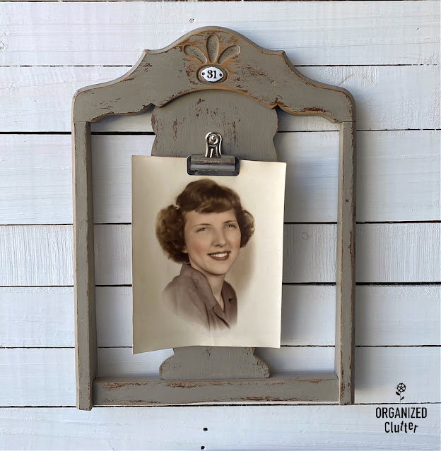Photo of chair back repurposed as photo display
