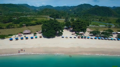A royalty free of aerial drone shot of Mawun Beach in Lombok