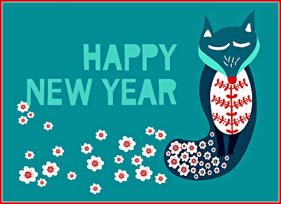 A happy new year poster, featuring a fox in the Scandinavian style.