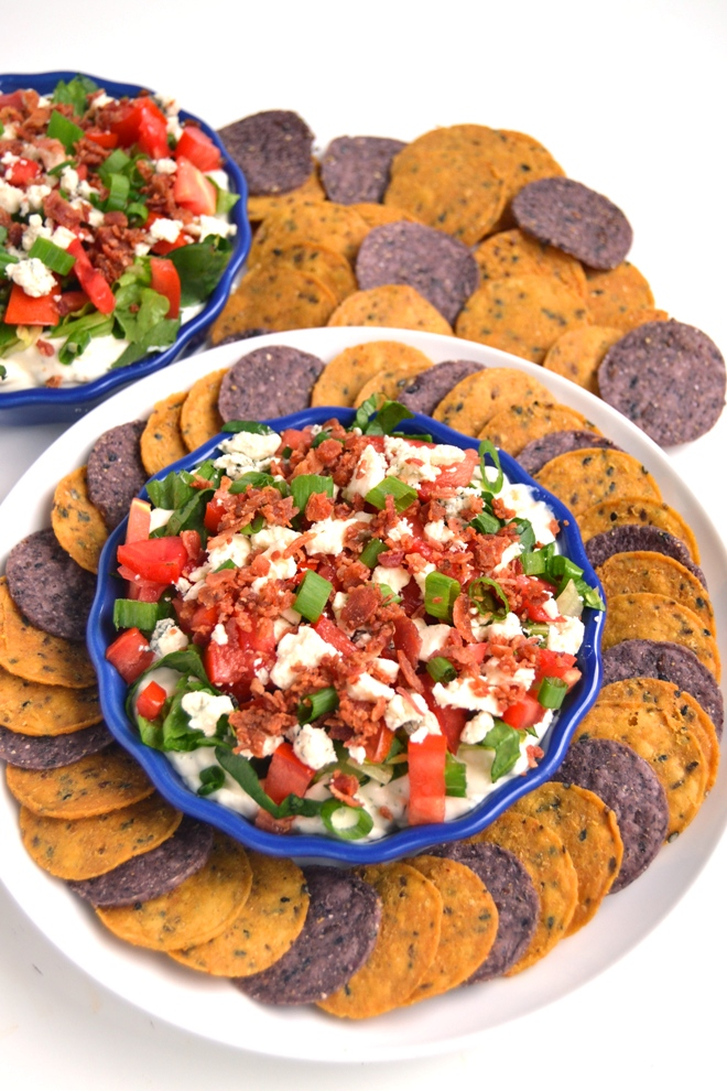 Wedge Salad Dip is the perfect party appetizer filled with crumbled blue cheese, romaine lettuce, tomatoes, bacon, green onions and a homemade Greek yogurt ranch dip! www.nutritionistreviews.com