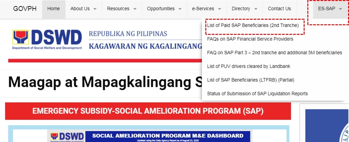 DSWD list of paid SAP 2nd tranche beneficiaries