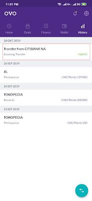 Menerima gajian dari aplikasi OVO Android
