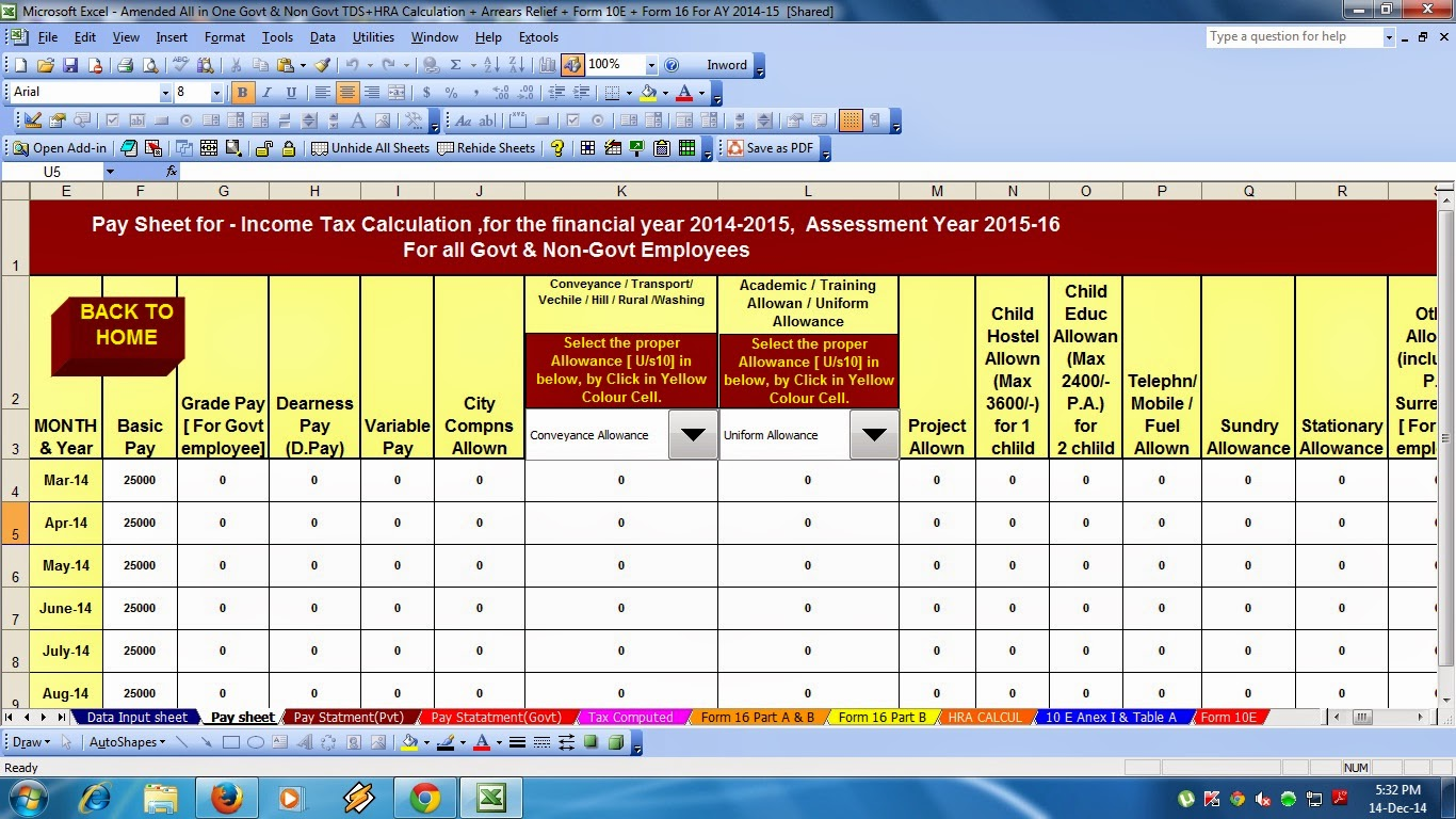 Gratuity Calculation Sheet In Excel Format