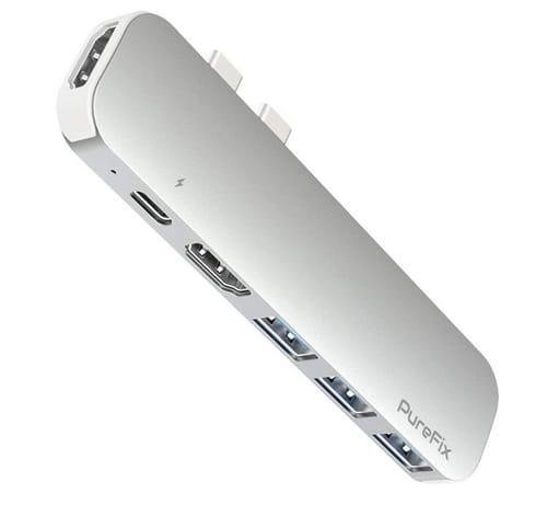 PureFix 6 in 1 USB C Dual HDMI Hub Adapter