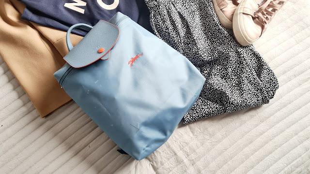 Brunch outfit, brunch outfit 2021, brunch outfit ideas spring, longchamp le pliage backpack