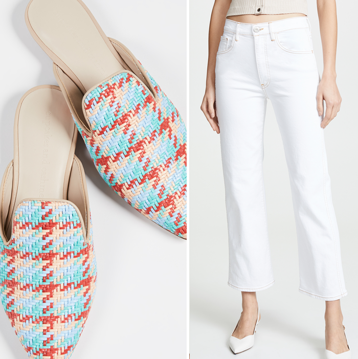 white crop flare jeans woven mules