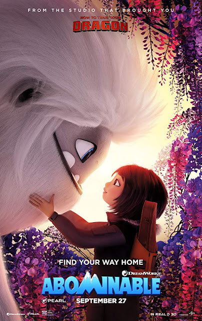 Movie poster for Dreamworks Animation's 2019 film Abominable, starring Chloe Bennet, Albert Tsai, Tenzing Norgay Trainor, Eddie Izzard, Sarah Paulson, Tsai Chin, Michelle Wong, and James Hong