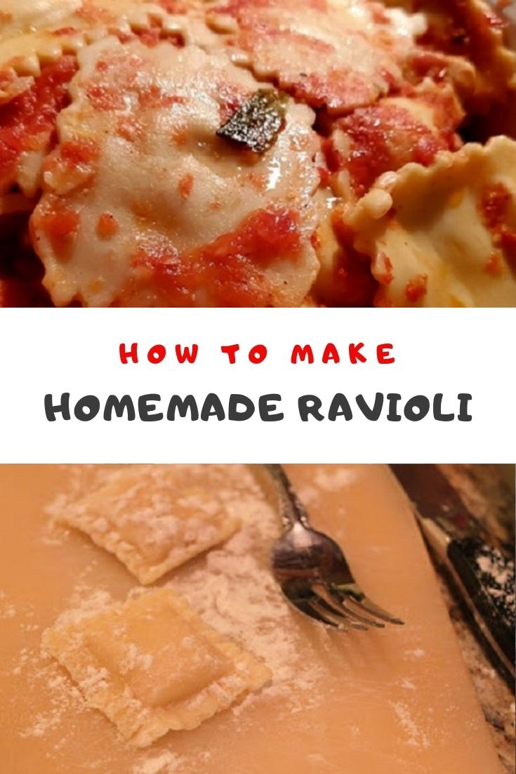 homemade ravioli and pin for later showing the pasta and the dough
