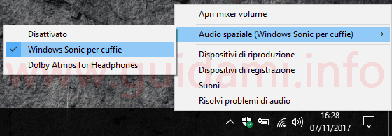 Area notifica Windows 10 menu contestuale icona Altoparlanti