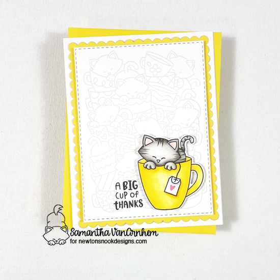 Big Cup of Thanks card by Samantha VanArnhem | Newton's Mug Stamp Set, Caffeinated Cats Stamp Set and Frames & Flags Die Set by Newton's Nook Designs