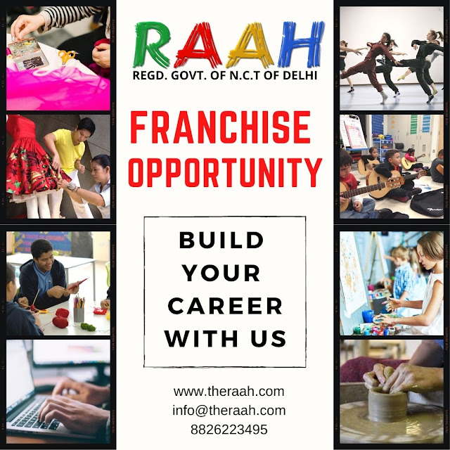 Franchise Benefits   100% Government Registered  Provide Diploma Certificate  Use Raah Academy Brand Name  Full Promotion and Advertise Franchise world-wide Enquiry Lead  Social Media post  Raah Academy's Professional will Guid franchise for faster and Great Result Student Counselling  Accounting Support  Training  Appreciation certificate for centre topper students Teacher Experience/Appreciation Certificate  will be announce you every event time to time  You can start Raah Academy Franchise with Little Investment.   If you have any these skill to teach our world that is the great opportunity for you to build your career with us.
