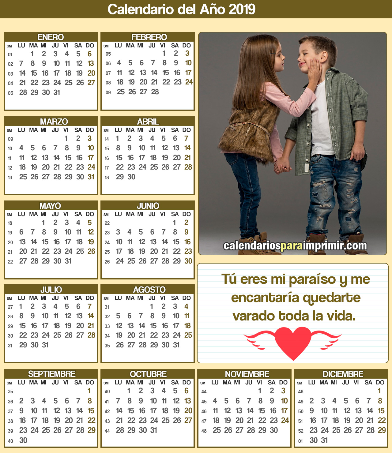 calendario  amor 2019 para imprimir