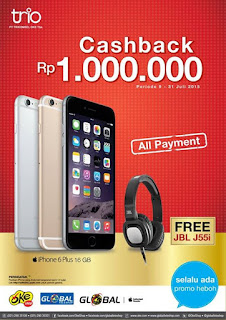 Promo iPhone 6 Plus 16 GB Cashback Rp 1.000.000 + JBL J55i