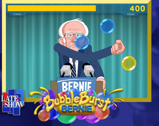 Bernie Bubble Burst gameplay Late Snow Stephen Colbert arms