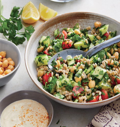 healthy dinner BARLEY TABBOULEH SALAD WITH TAHINI DRIZZLE