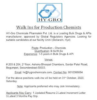 B.Sc/M.Sc Jobs Walk In Interview For HY-Gro Chemicals Pharmatek Pvt. Ltd. Hyderabad, Telangana