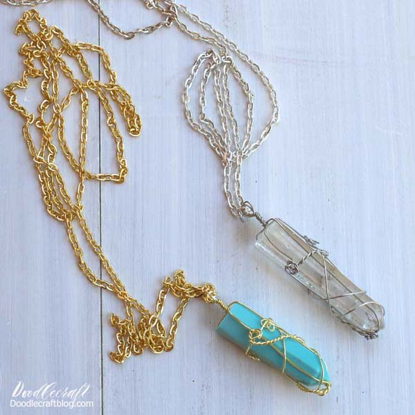 faux crystal turquoise wire wrapped pendant necklace diy