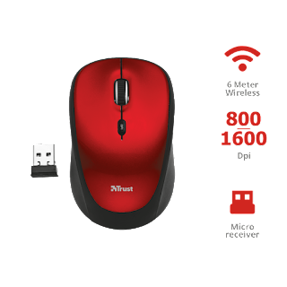 TRUST RONA MOUSE WIRELESS ROSSO 22928