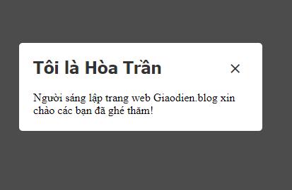 Tạo thông báo Popup giữa mà hình blogspot