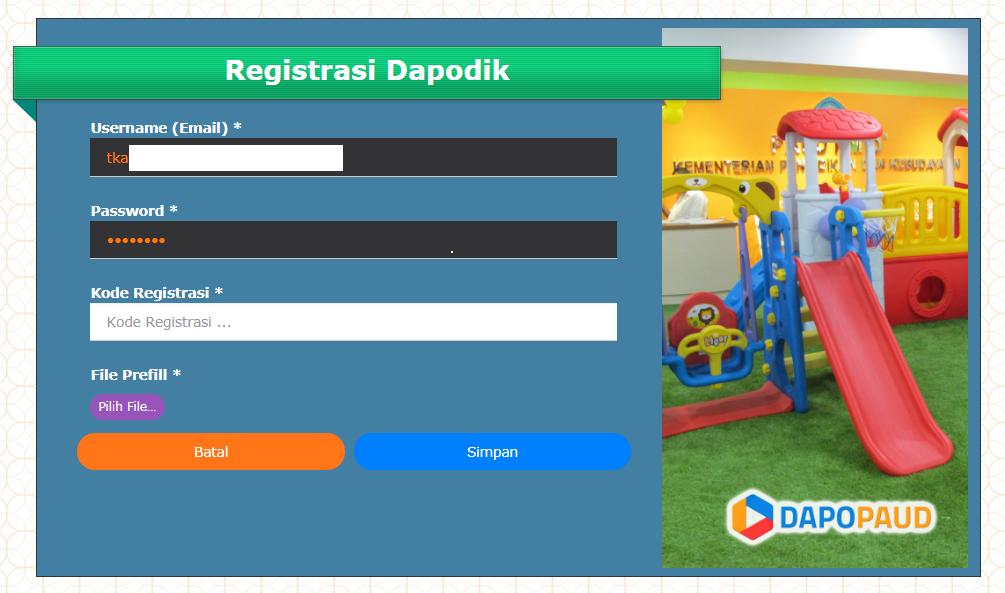 Registrasi dapodik di laman manajemen PAUD