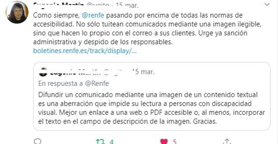 twit sobre la falta de accesibilidad de la web de Renfe
