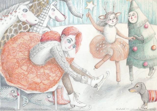 Aide Leit-Lepmets uisupidu illustratsioon joonistus