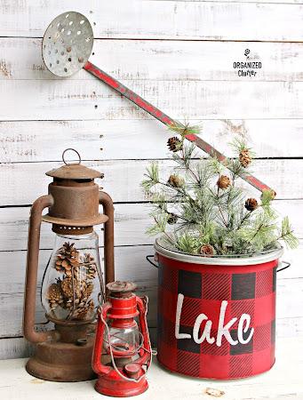 Buffalo Check Minnow Bucket Christmas Decor
