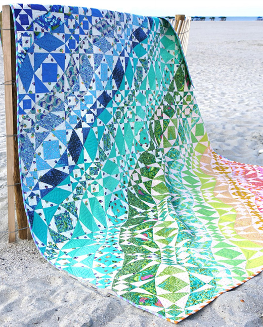 Rainbow Waves Quilt Free Pattern Designed by Stacey Day for FreeSpirit, featuring Zuma by Tula Pink