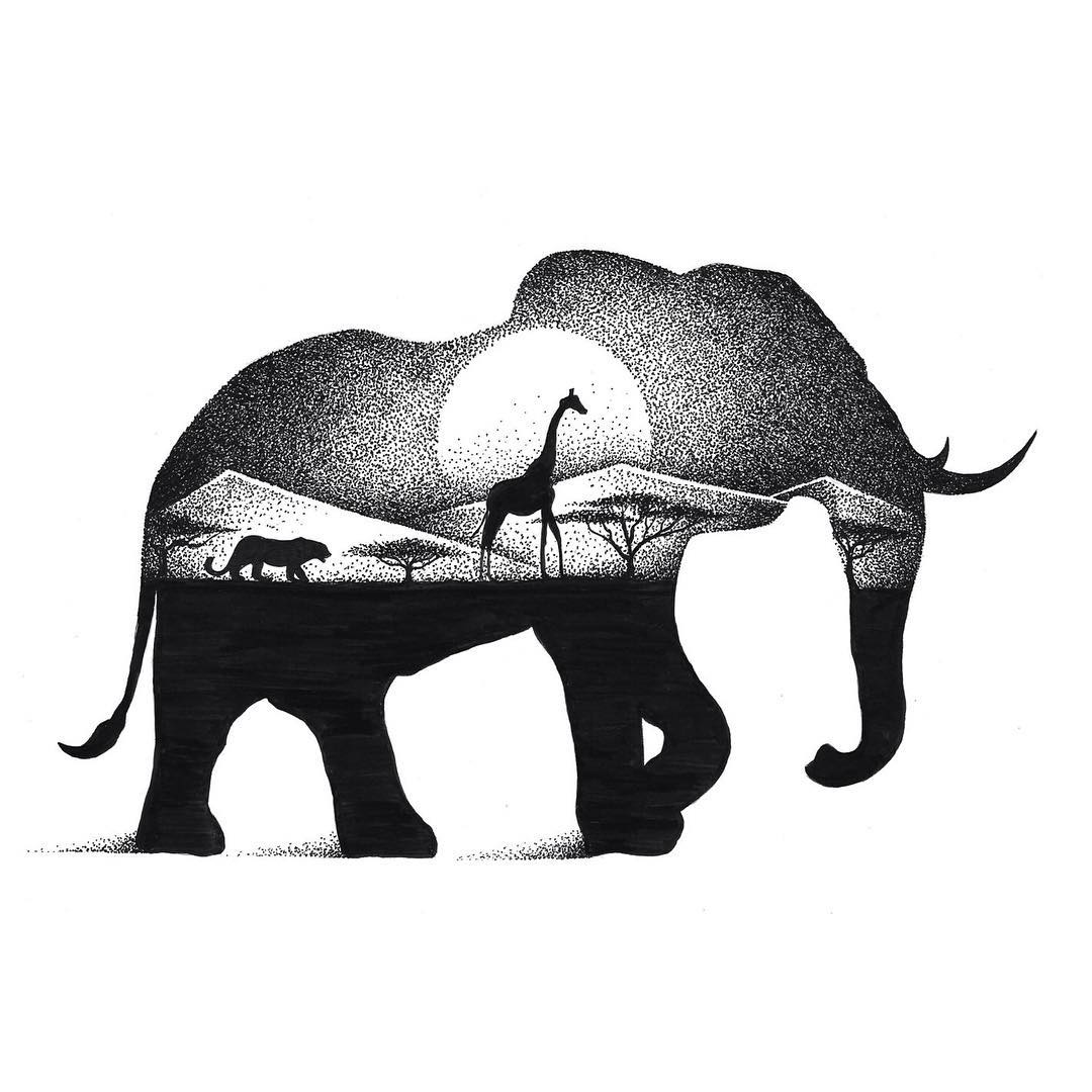 05-Elephant-and-Giraffe-Thiago-Bianchini-Eclectic-Collection-of-Drawings-and-Illustrations-www-designstack-co