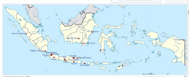 area Stadion dan lokasi liga shopee 1 2019 indonesia