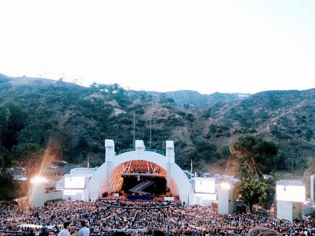 Crowds and mountains of the hollywood bowl in Los Angeles