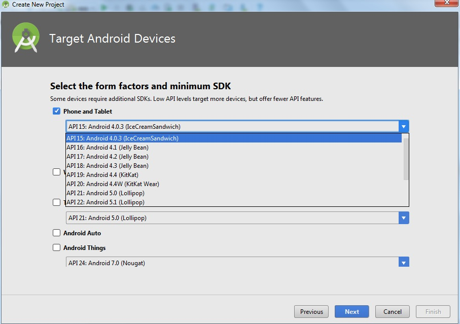 Create Android Project Select form factor Screen