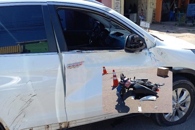 INTUBADO: Motociclista fica inconsciente após grave acidente na 7 de Setembro