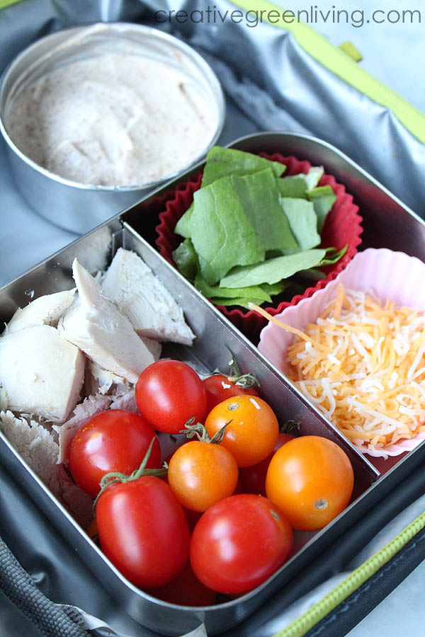 Deconstructed chicken taco bento box lunch ideas